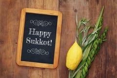 Joods dalingsfestival van Sukkot Traditionele symbolen & x28; Vier species& x29;: Etrog, lulav, hadas, arava royalty-vrije stock afbeelding