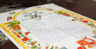 Joods huwelijk, prenuptial overeenkomst ketubah Stock Afbeeldingen