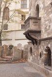 Joods Kwart Praag, Tsjechische Republiek, Oude Stad in de retro stijlwinter, het koude stemmen kleurenbeelden van Europa met ruim Stock Afbeeldingen