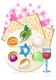 Joods vier pesach passover met eieren stock illustratie