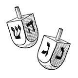 Joodse dreidelschets stock illustratie