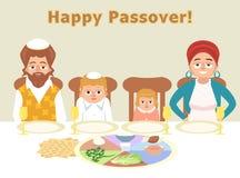 Joodse familie bij feest van de kaartillustratie van de passovergroet stock illustratie