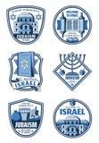 Joodse godsdienst, onthaal aan de kentekens van Israël vector illustratie
