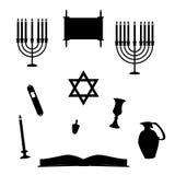 Joodse Godsdienstige Objecten Silhouetten Royalty-vrije Stock Afbeeldingen