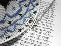 Joodse godsdienstige symbolen vanaf bovenkant Stock Foto