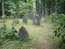 Joodse grafzerken in Joodse begraafplaats Stock Foto