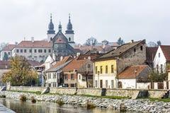 Joodse kwart en chateau, Trebic, Tsjechische republiek stock foto