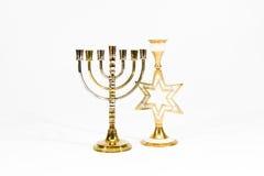 Joodse menorah en kandelaar in de vorm van St Royalty-vrije Stock Afbeelding