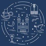 Joodse symbolen: tfillin, synagoge, de hoorn van schapen vector illustratie