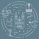 Joodse symbolen: tfillin, synagoge, de hoorn van schapen stock illustratie