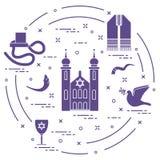 Joodse symbolen: tfillin, synagoge, de hoorn van schapen royalty-vrije illustratie