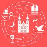 Joodse symbolen: tfillin, synagoge, sheep's hoorn, duif, david vector illustratie