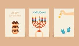 Joodse vakantie hanukkah drie kaarten vector illustratie