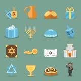 Joodse vlakke pictogrammen De vectorsymbolen van Israël en van judaism met rabijn, torah synagoge vector illustratie