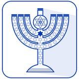 Joodse zeven-vertakte kandelaber menorah met de Jodenster, vlakke ontwerpillustratie in de nationale kleuren blauwe a van Israël stock illustratie