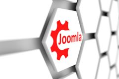 Joomla. Cell wheal gear blurred background 3d illustration Stock Images