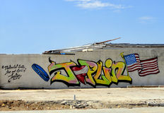 Joplin Graffiti. JOPLIN, MO, USA--JULY 12, 2011: Graffiti decorates the walls of buildings that were destroyed by the EF-5 tornado that struck Joplin, MO on May stock illustration