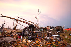 Joplin (US)after the EF 5 Tornado on 22nd May 2011. On May, 22, a huge EF 5 tornado abolishes the town of Joplin, in Missouri. Several casualties and big damage royalty free stock photography