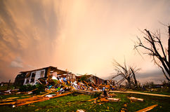 Joplin (US)after the EF 5 Tornado on 22nd May 2011. On May, 22, a huge EF 5 tornado abolishes the town of Joplin, in Missouri. Several casualties and big damage royalty free stock images