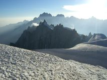 Jorasses and Aiguille du Midi. Grandes Jorasses and Midi from Mt Blanc du Tacul Royalty Free Stock Photos