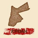 Jordânia afligiu o mapa Fotos de Stock Royalty Free