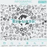 Jord av den Infographic för illustration för vektor för idé och för begrepp för modern design för affärsframgång mallen med symbo vektor illustrationer