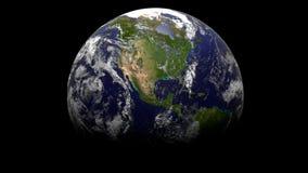 jord 3d med svart bakgrund Royaltyfri Bild