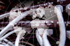 jord 3D som telekommunikation- och internetteknologibegrepp Arkivfoto