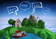 jord för animering 3D med bubblor och utrymmebakgrund Arkivbilder