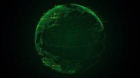Jord för planet 3D för PIXEL grön med stor dataanimering Roterande jordklot, glänsande kontinenter med att sväva nummer Abstrakt  royaltyfri illustrationer