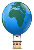 Jord för planet för tur för ballong Europa Afrika för varm luft royaltyfri illustrationer