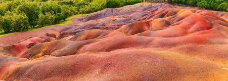 Jord för sju färg mauritius panorama Arkivbilder