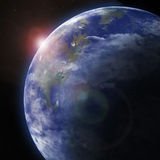 Jord från utrymme. Beståndsdelar av detta bild som möbleras av NASA. Royaltyfri Fotografi