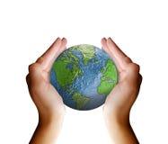 jord hands holdingplanet Arkivfoton