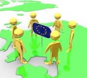 Jord i nivån av guldEuropeanflaggan Royaltyfria Foton
