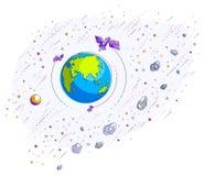 Jord i utrymme, vår planet i enormt kosmos som omges av artifici Royaltyfri Bild