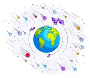Jord i utrymme, vår planet i enormt kosmos som omges av artifici stock illustrationer