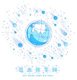 Jord i utrymme, vår planet i enormt kosmos som omges av meteorit Arkivfoto