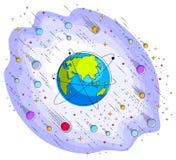 Jord i utrymme, vår planet i enormt kosmos som omges av meteorit stock illustrationer