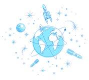 Jord i utrymme, v?r planet i enormt kosmos som omges av konstgjorda satelliter, raket och stj?rnor global teknologi f?r kommunika royaltyfri illustrationer
