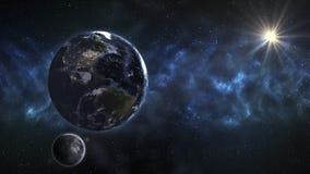 Jord i yttre rymden med härlig soluppgång Beståndsdelar av thien arkivbilder