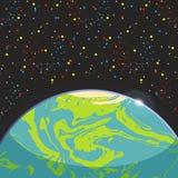 Jord - jordisk exoplanet för blått jordklot på stjärnabakgrund för mörkt utrymme Futuristiskt tecknad filmlandskap 0 för illustra stock illustrationer