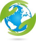 Jord, jordklot, världsjordklot och hand, jordlogo stock illustrationer