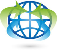 Jord jordklot, världsjordklot, pilar, logo Fotografering för Bildbyråer