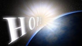 Jord ljus, utrymme Ljuset kommer med hopp för ett nytt liv, en ny början Arkivfoto