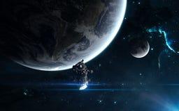 Jord måne, rymdstation, stjärnaklungor, nebulosa Sciencekonst Beståndsdelar av bilden möblerades av NASA stock illustrationer