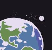Jord med månen stock illustrationer