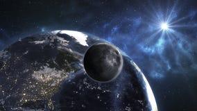 Jord med månen i utrymmet Härlig blå soluppgång Beståndsdelnolla royaltyfri foto