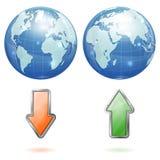 Globalt upload- och nedladdningbegrepp royaltyfri illustrationer