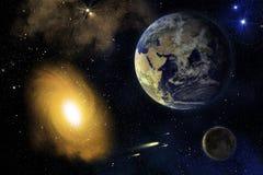 Jord, Moon och galax. Royaltyfri Fotografi